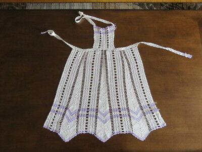Vintage Crochet Apron - White - Purple