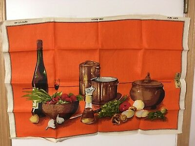 "Tea Towel - All Pure Linen -  Vegetables - Pots - 31"" By 22"" - (Unused)"