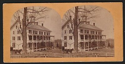 RARE Stereoview Photo Old Quaker Seminary Easton NY 1870 Washington County NY