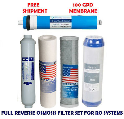 New 5 Stage Reverse Osmosis Filter Set For Ro Water Systems With 100Gpd Membrane