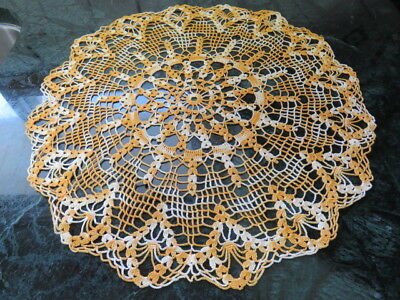 "Vintage Crochet Doily - Variegated Yellow - 15"" In Diameter - Handmade"