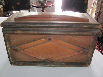Early 18th Century Carved Decorated Wooden Box,Original Salmon Paint,AAFA