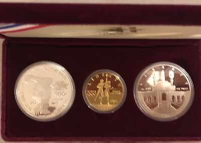 1984 US Olympic 3-coin Silver and Gold Set