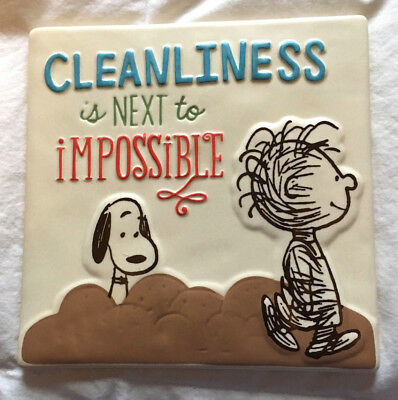 """Snoopy and Pigpen Peanuts """"Cleanliness"""" Ceramic Tile - Plaque"""