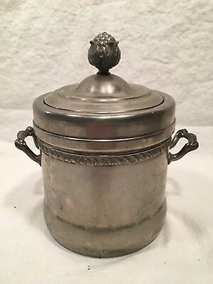Vintage Ice Bucket - Silver On Copper With Crock Pottery Liner-Federal Silver Co