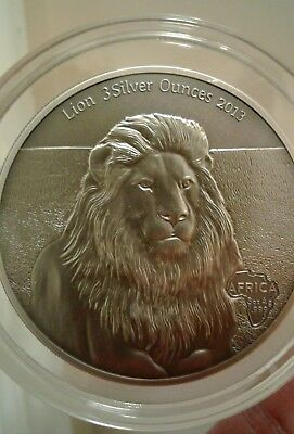 2013 - LION - 3 Silver Ounces Gabon 2000 Francs CFA Antique Finish 3 Oz Coin