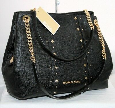 Michael Kors Jet Set Large Stud Shoulder Chain Bag Hobo Black Leather Gold $398