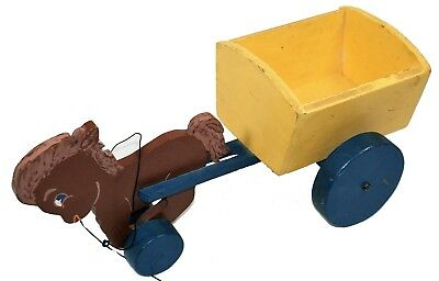 Hand Made Pull Toy Horse & Wagon