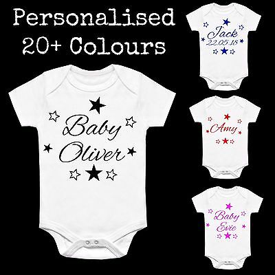 Personalised Star Baby Vest Babygrow Clothing Shower Gifts Boy Girl Unisex