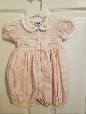 Infant Girl Friedknit Creations Smocked Strawberry Gingham Pink Romper Sz 12m-NW