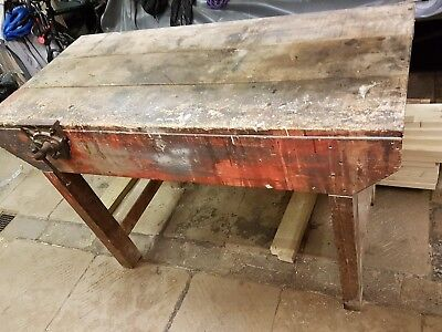 Vintage Wooden Workbench Industrial with Vice