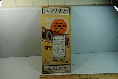 Vintage 1915 Gulf Refining Co. Automobile Road Map Middle West