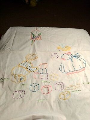 Vintage Embroidered  Boy & Girl Playing With Blocks Crib Coverlet/Wall Hanging