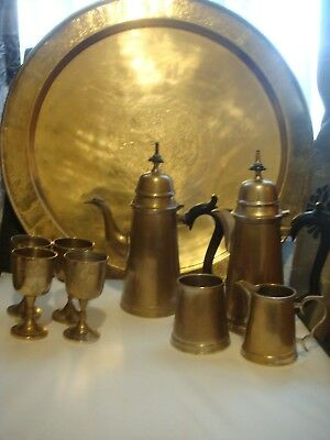 Antique Persian  Qajar Islamic Arabic Brass Tray &silver Plate & Brass Tea Set