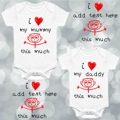 I Love My Personalised Custom Babygrow Vest Gift Any Name Wording Hearts Baby V2