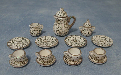 1:12 Ceramic 15 Piece White & Pink Floral Dolls House Miniature Tea Set 2106