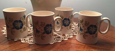 4 Russel Wright Maxwell House Instant Coffee Cups Mugs Morning Glory Rare & Mint