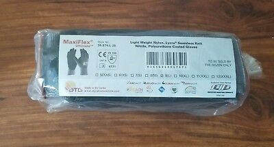 34-874/L MaxiFlex Ultimate Nitrile Micro-Foam Coated Gloves LARGE 12 pair