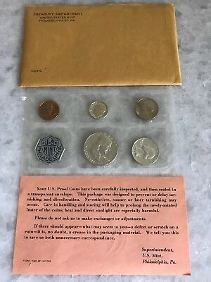 1962-P U.s. 5-Coin Silver Proof Set In Original Envelope, Sealed In Mint Pack