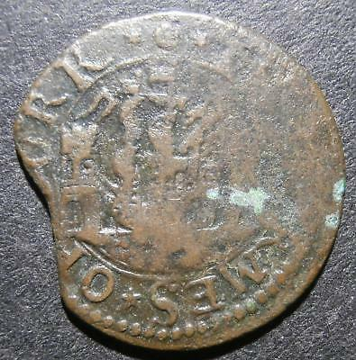 17th century penny token - Ireland Cork city 1659 ship between castles - D.201