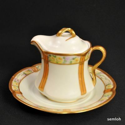 J&C Jaeger & Co Covered Syrup w/Underplate 1912 Handpainted Yellow Roses w/Gold