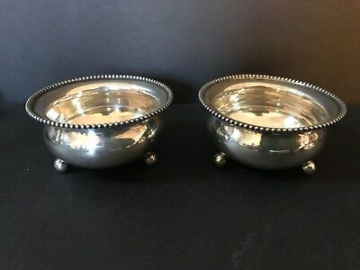 Antique Sterling Silver Pair of Nut or Small Three Legged Dishes