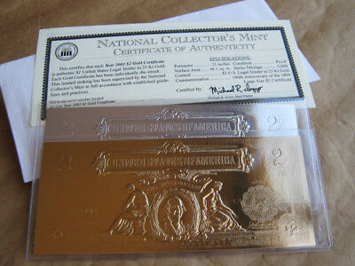National Collector's Mint 2003 $2 -23k Proof Gold + Silver Certificate w/ COA
