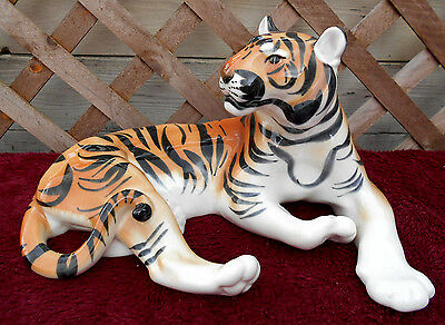 "Large Vintage Russian Ceramic Recumbent Tiger Figurine 12"" Long 7"" Tall Perfect"