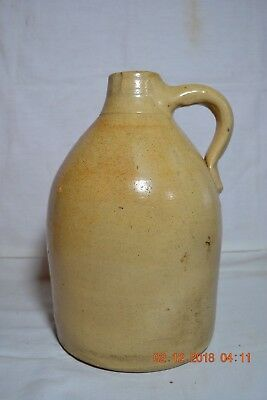 Antique Stoneware Mustard Color J Fisher Lyons NY One Handle Jug