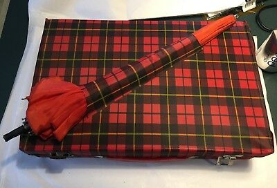 Worcester Red Black Plaid Spy Briefcase with Umbrella Vintage Toy
