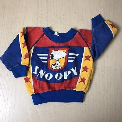Vintage Snoopy Sweater 24 Months Primary Colors Peanuts Sweat Shirt