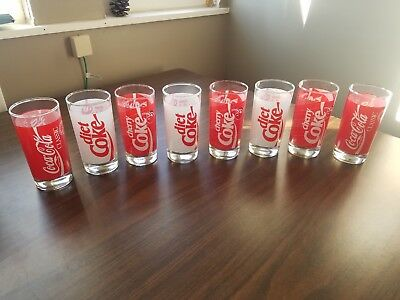 Vintage 1980's 8 Coke Glasses