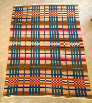 """Antique Vintage 1930's Woven Wool Striped Blanket 85"""" x 60"""", Very Good Condition"""