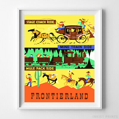 Collector/'s Poster Print Vintage Disney 1955 Frontierland B2G1F Stage Coach