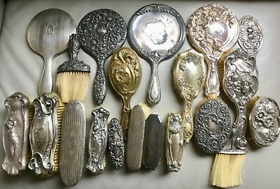 Vintage lot 20pc sterling mirrors, brushes etc. one marked 1751
