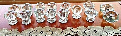 15 ANTIQUE GLASS DRAWER PULLS ~ from 200 yr old home ~ BubBLES ~ POLYGON ~ 1800s