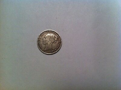 1886 Great Britain 3 Pence, Mid Grade, Silver, Victoria, threepence British 235