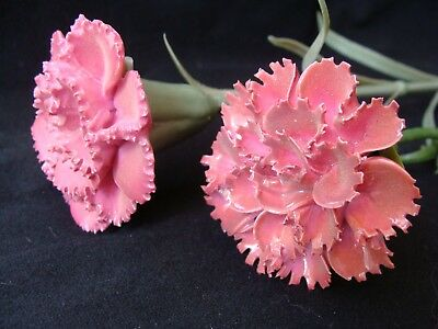 Two Porcelain China Carnation Flowers On Stems, Vgc, Can Post