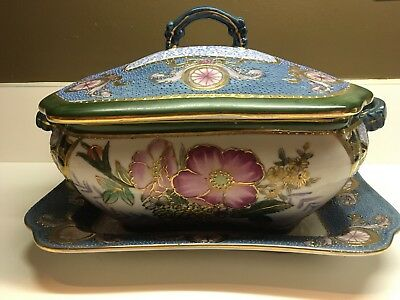 Stunning Hand Painted Modelia Soup Tureen Covered Serving dish Heavy