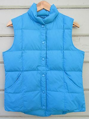 Land's End Azure Blue Snap Front LUXE 70/30 Down Puffer Vest Wms S  6 8