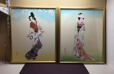 Pair of 2 Old Japanese Framed Signed Drawing Paintings of Geisha Girl #B0008