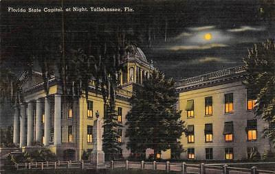 TALLAHASSEE, FL Florida  STATE CAPITOL Night View c1940's Tichnor Linen Postcard