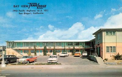 SAN DIEGO, CA California  BAY VIEW TRAVELODGE~Pacific Highway 50's CARS Postcard