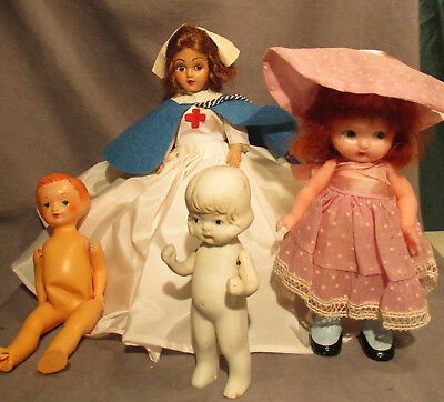 "Lot of Small Vintage Dolls - Celluloid, Bisque, Plastic - 4"" to 7"" Tall"