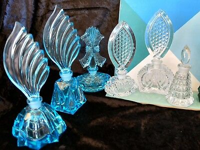 Vintage Czech New Old Stock ART DECO set of 6 glass Aquamarine and Clear bottles