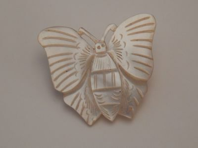 Mother Of Pearl Butterfly Pin Brooch  Bethlehem Signed Vintage