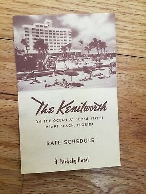 The Kenilworth Miami Beach A Kirkeby Hotel Travel Rate Card Brochure 1950's