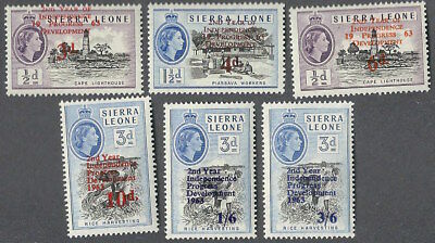 Sierra Leone #242-247, MNH -1963 - Overprinted and Surcharged - Complete Set