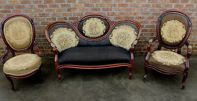 4 Pc Antique Needlepoint Medallion Back Loveseat 3 Chairs Victorian Parlor Set