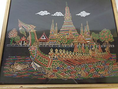 Vtg Thai Textile Cloth Painting Royal Yacht Wat Arun Bangkok  Thailand Wall Art
